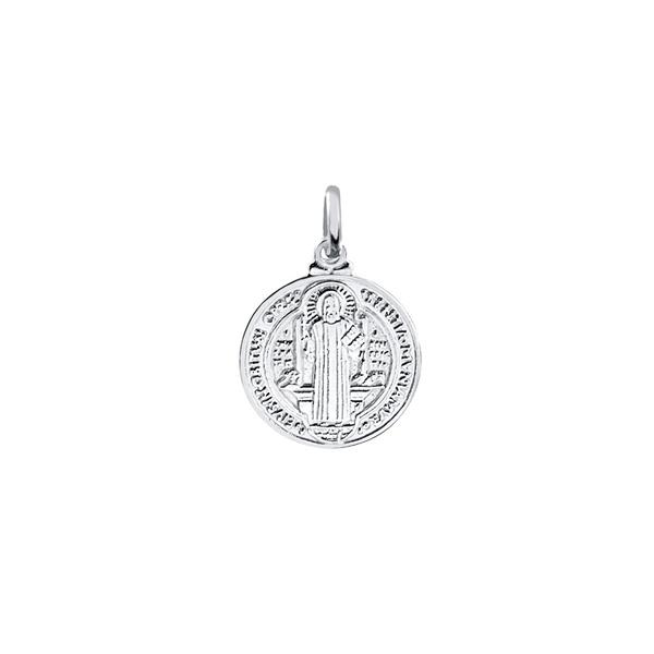 Pingente Medalha de São Bento Pequeno em Prata 925