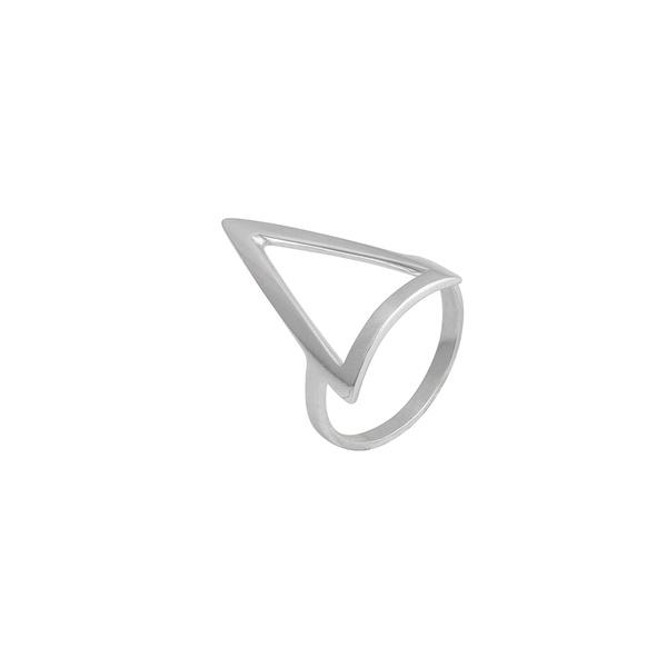 Anel Geométrico Triângulo Vazado Liso em Prata 925