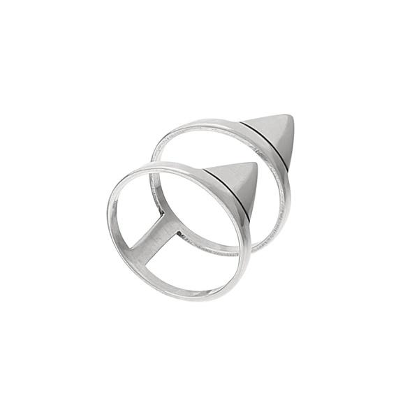 Anel Geométrico Duplo Triângulos Envelhecido em Prata 925