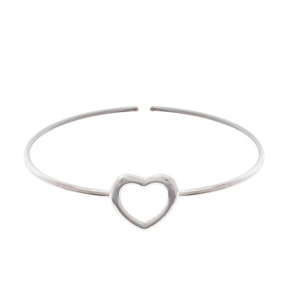 Bracelete Coração Vazado Ajustável em Prata 925