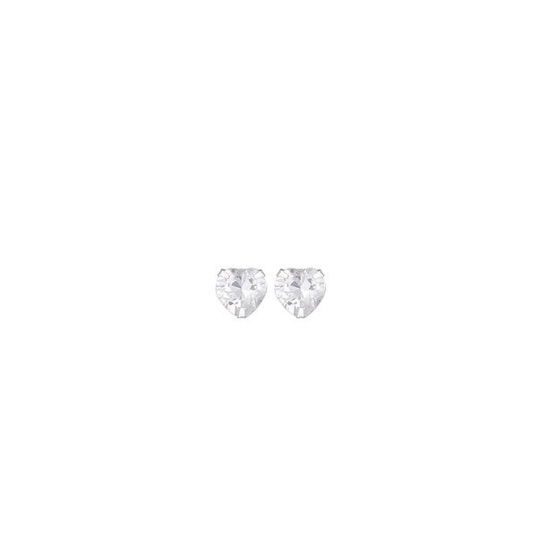 Brinco Coração Zircônia em Prata 925 - 3mm
