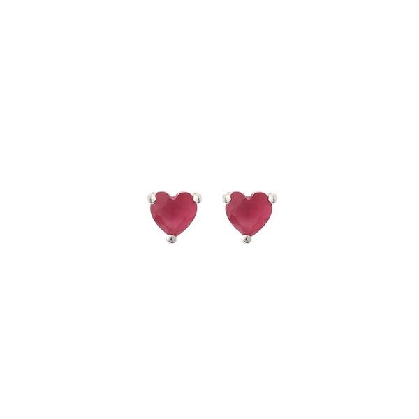 Brinco Coração Pedra Zircônia Rosa em Prata 925