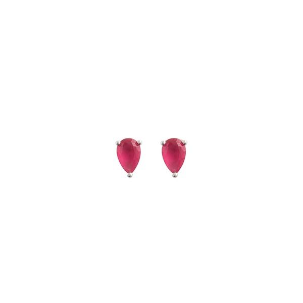 Brinco Gota Pedra Zircônia Rosa em Prata 925