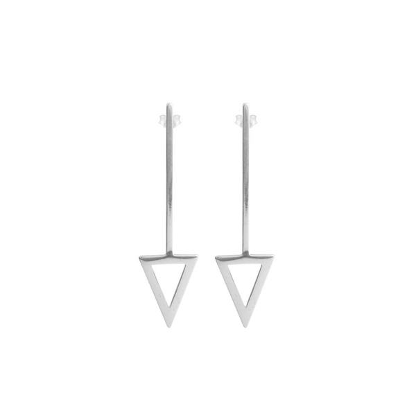 Brinco Geométrico Reto Triangulo em Prata 925