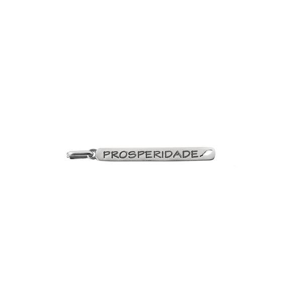 Pingente Placa Prosperidade em Prata 925