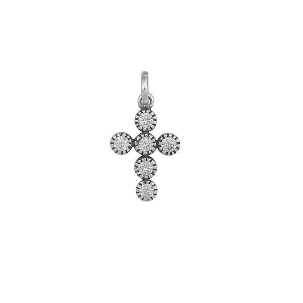 Pingente Cruz Zircônias Envelhecido em Prata 925