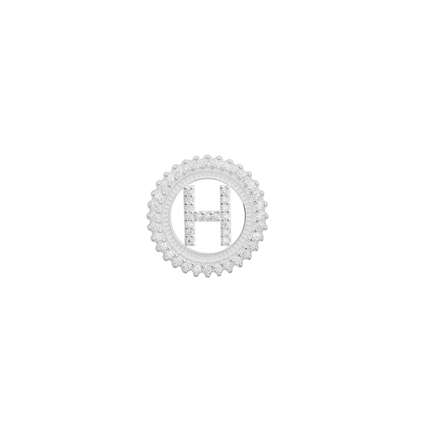 Pingente Letra Inicial H Pedra Zircônia em Prata 925
