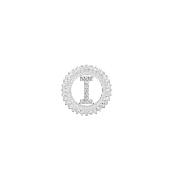 Pingente Letra Inicial I Pedra Zircônia em Prata 925
