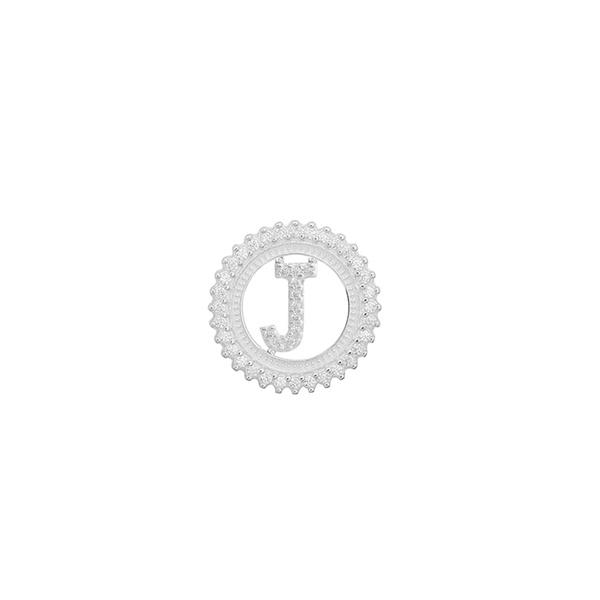 Pingente Letra Inicial J Pedra Zircônia em Prata 925