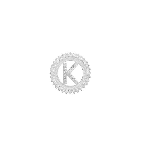 Pingente Letra Inicial K Pedra Zircônia em Prata 925