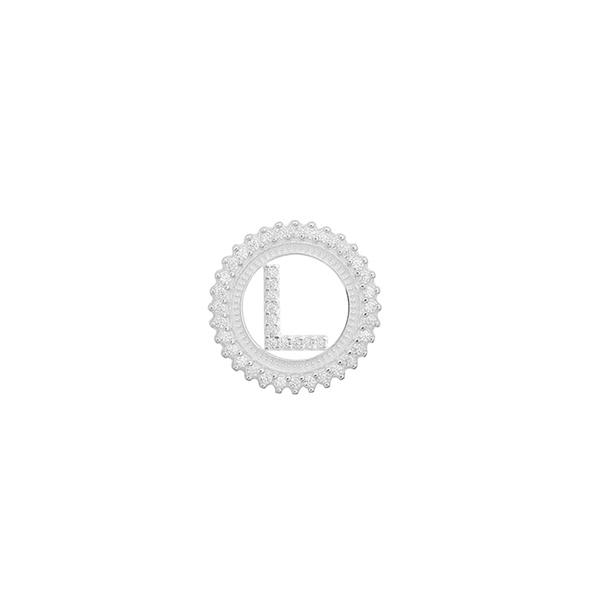 Pingente Letra Inicial L Pedra Zircônia em Prata 925
