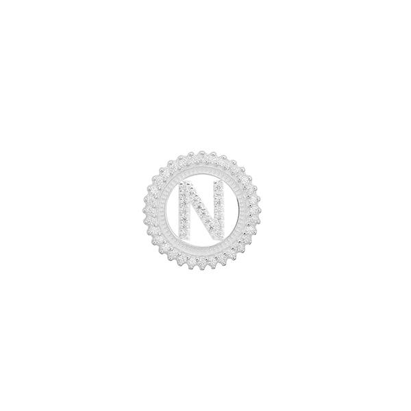 Pingente Letra Inicial N Pedra Zircônia em Prata 925