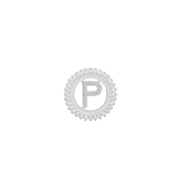 Pingente Letra Inicial P Pedra Zircônia em Prata 925