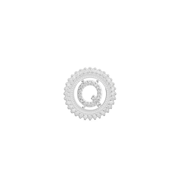 Pingente Letra Inicial Q Pedra Zircônia em Prata 925