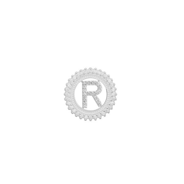 Pingente Letra Inicial R Pedra Zircônia em Prata 925