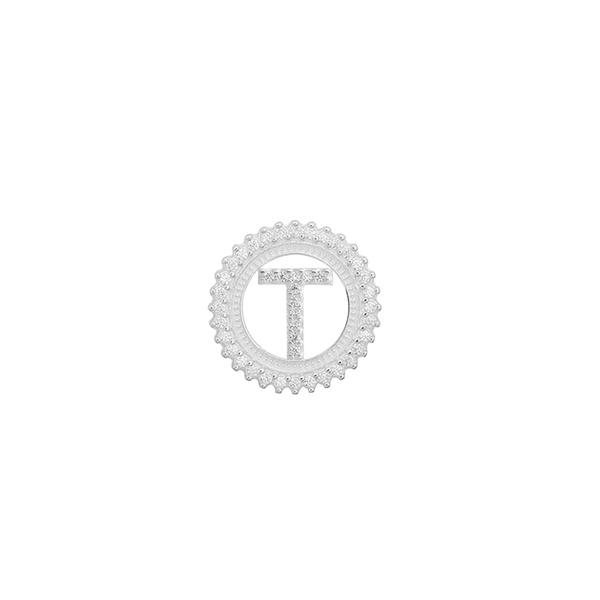 Pingente Letra Inicial T Pedra Zircônia em Prata 925