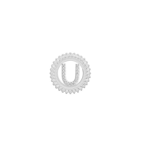 Pingente Letra Inicial U Pedra Zircônia em Prata 925