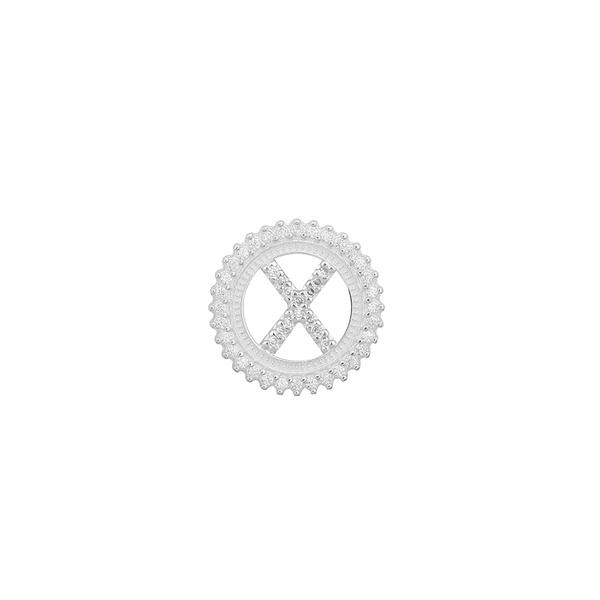 Pingente Letra Inicial X Pedra Zircônia em Prata 925