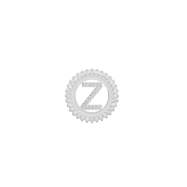 Pingente Letra Inicial Z Pedra Zircônia em Prata 925