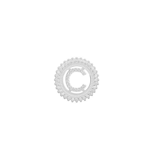 Pingente Letra Inicial C Pedra Zircônia em Prata 925