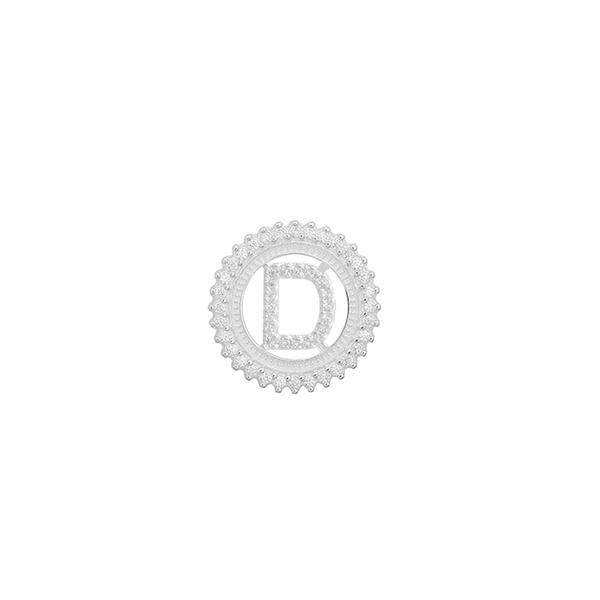 Pingente Letra Inicial D Pedra Zircônia em Prata 925