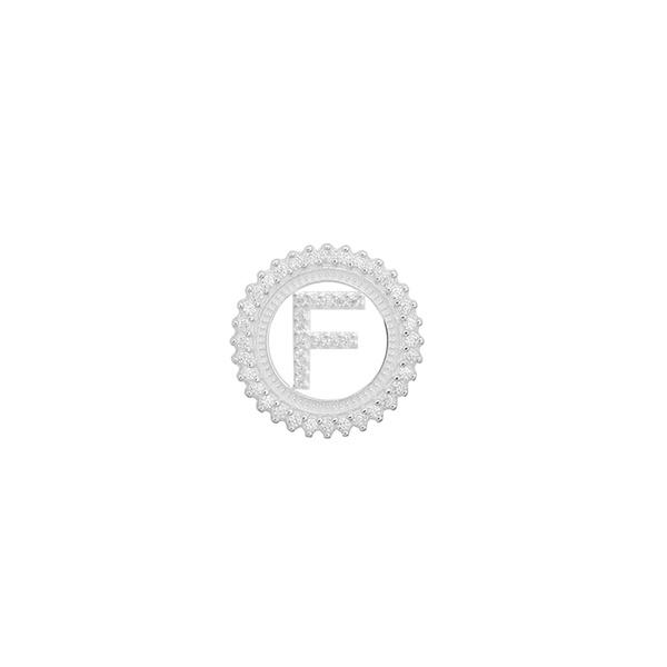 Pingente Letra Inicial F Pedra Zircônia em Prata 925