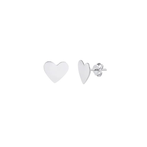 Brinco Coração Liso em Prata 925