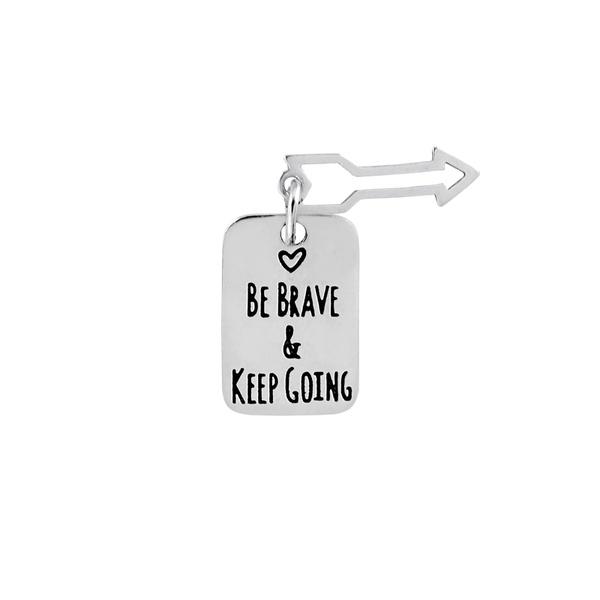 Pingente Placa Be Brave & Keep Going em Prata 925