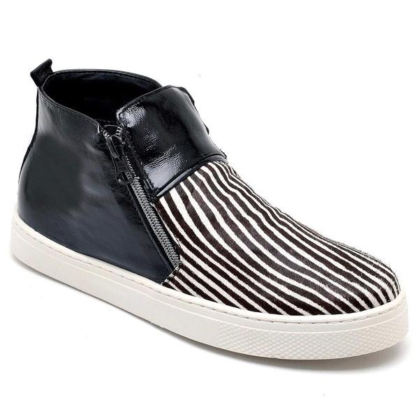 Tênis Botinha Slip On Manhattan - Preto/ Zebra