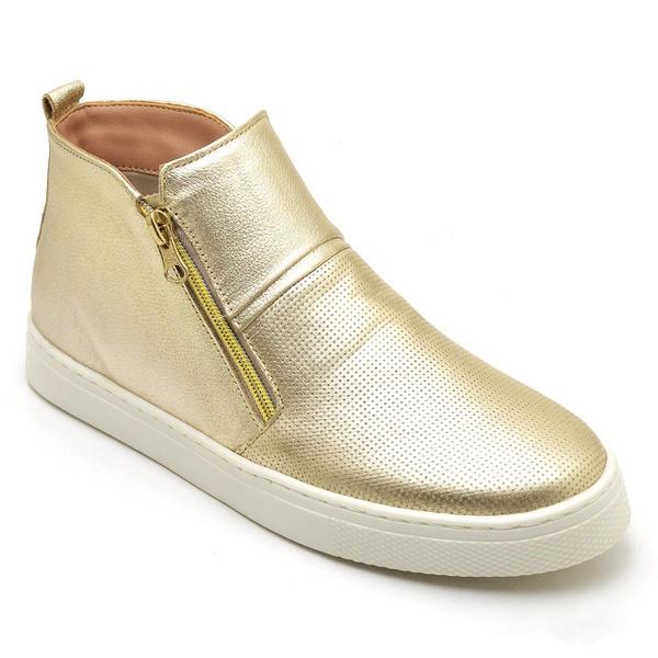Tênis Botinha Slip On Manhattan - Dourado - Couro Legítimo