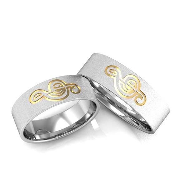 Alianças Clave de Sol ♥ Namoro e Compromisso em Prata 0,950