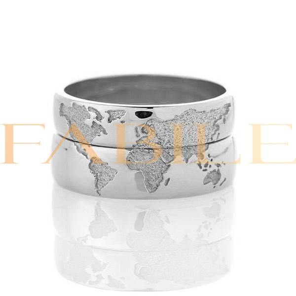 Alianças Mapa Mundi ♥ Namoro e Compromisso em Prata 0,950