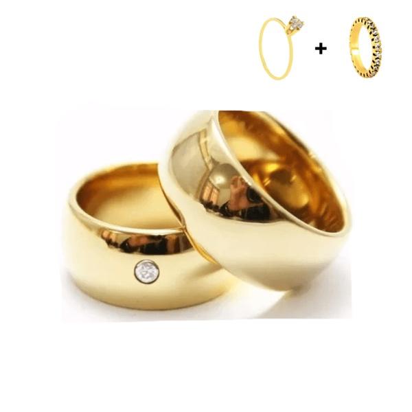 Combo Gaya 10mm ♥ Casamento E Noivado Tungstênio