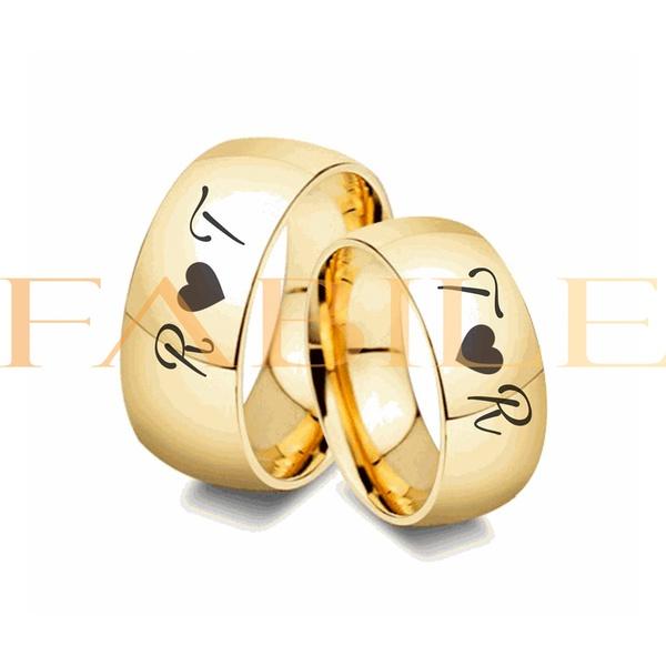 Alianças Gaya 10mm Infinito Iniciais ♥ Casamento E Noivado Tungstênio