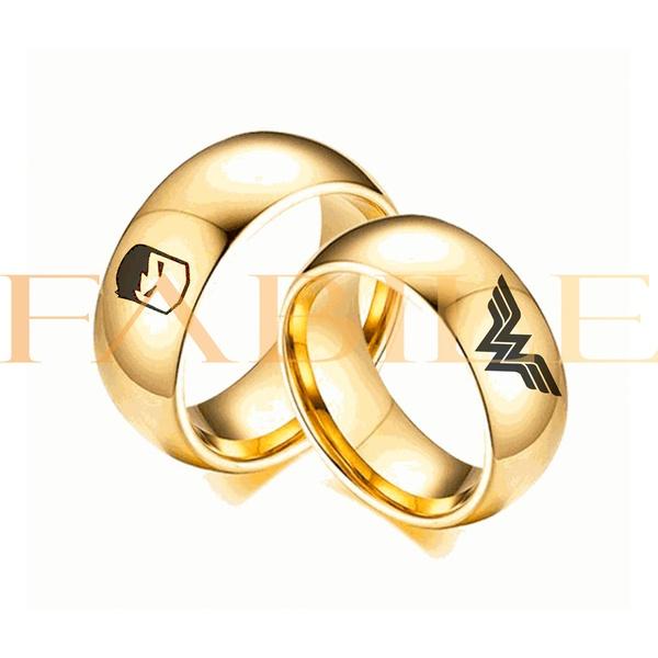 Alianças Gaya 8mm Hulk e Mulher maravilha ♥ Casamento E Noivado Tungstênio