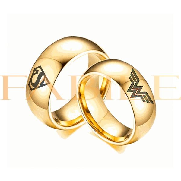 Alianças Gaya 8mm Super homem e Mulher maravilha ♥ Casamento E Noivado Tungstênio
