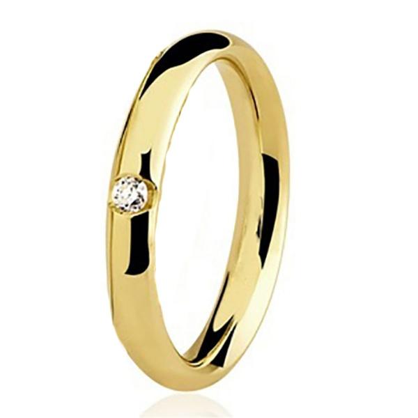 Aliança Individual De Ouro 18k Com 2,5mm e Diamante