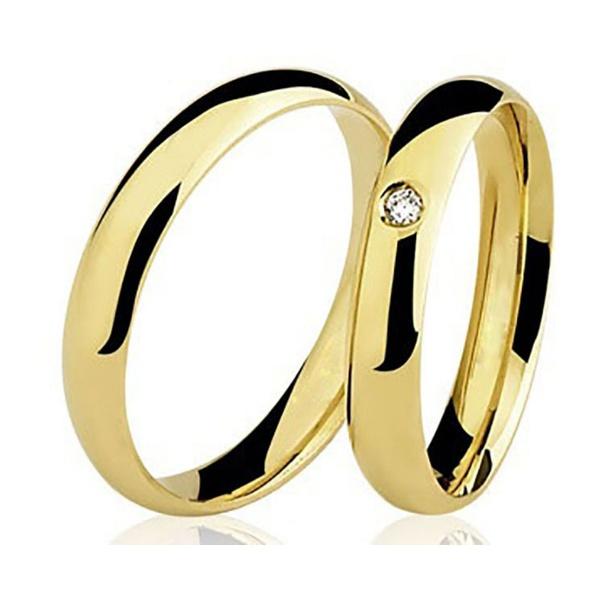 Par De Aliança Casamento De Ouro 18k Com 3mm e Diamante De 1 Ponto