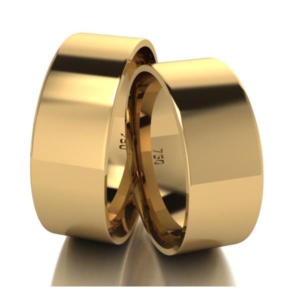 Par De Aliança De Ouro 18k Quadrada Com 7,0mm
