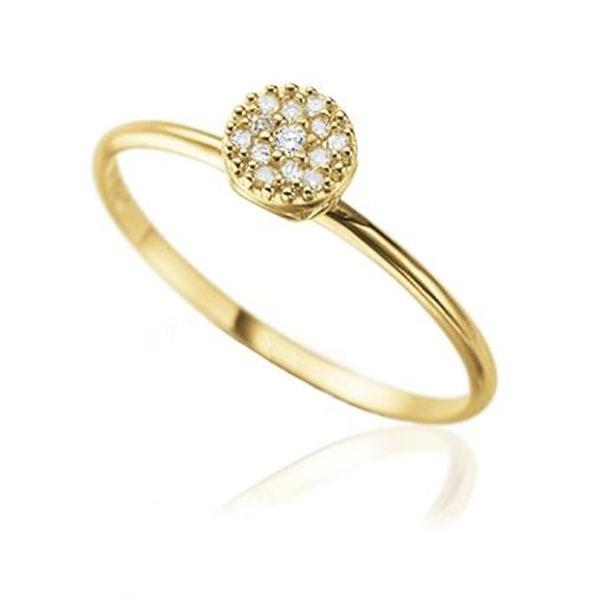 Anel De Ouro 18k Pavê Redondo De Diamantes