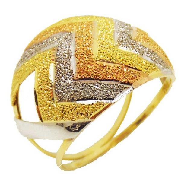 Anel De Ouro 18k Zig Zag Tricolor Com 3,5mm