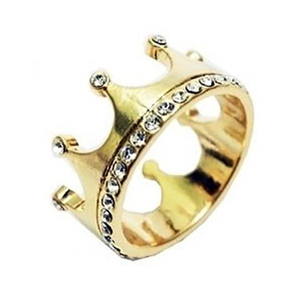 Anel De Ouro 18k Coroa Com Pedras