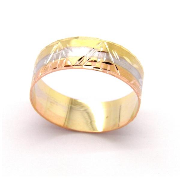 Anel De Ouro 18k Escravas Tricolor 1cm