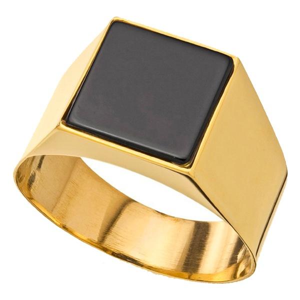 Anel De Ouro 18k Comendador Com Pedra Ônix