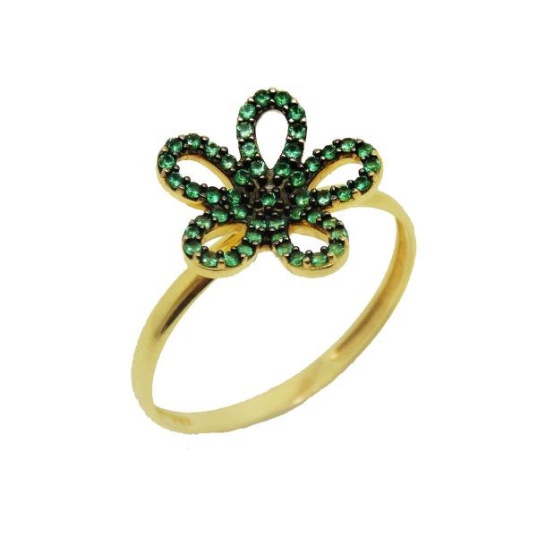 Anel De Ouro 18k Flor De Zircônias Verdes