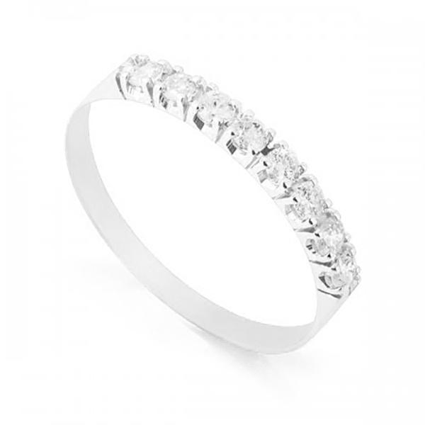 Meia Aliança De Ouro Branco 18k Com 8 Diamantes De 3 Pontos