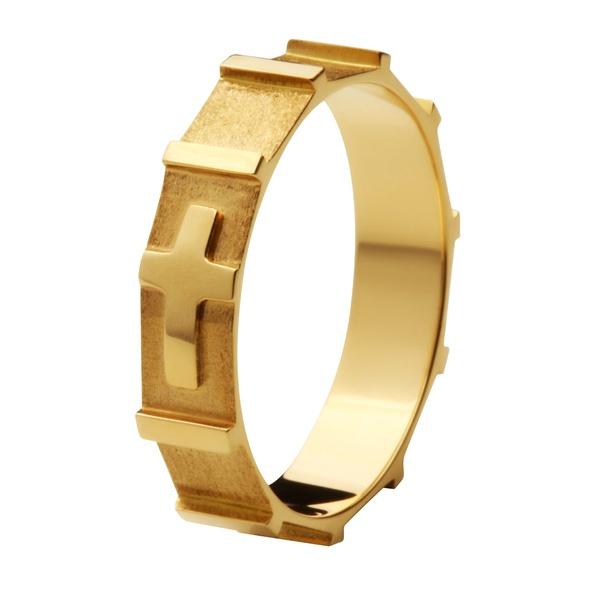 Anel De Ouro 18k Terço Com 4mm