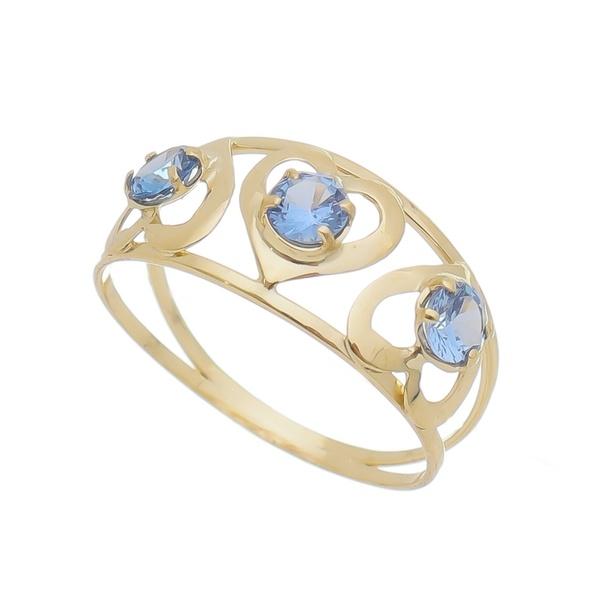 Anel Infantil De Ouro 18k Zircônias Azul Clara