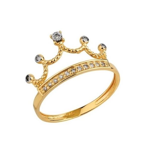 Anel De Ouro 18k Coroa Princess Com Zircônias