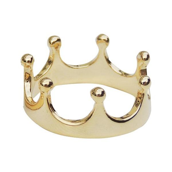 Anel De Falange De Ouro 18k Coroa